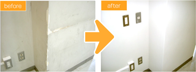 塗装壁のひび割れ補修